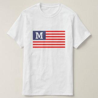 Patriotic American flag custom monogram t shirt