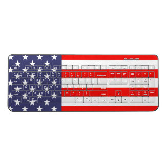 Patriotic American flag custom wireless keyboard
