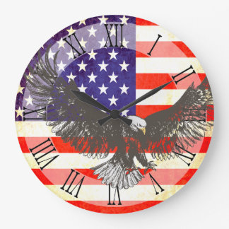 Patriotic American flag eagle roman wall clock