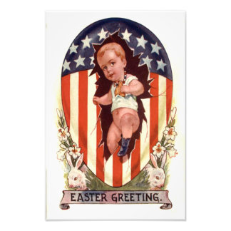 Patriotic American Flag Easter Egg Bunny Photographic Print