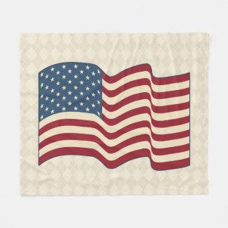 Patriotic American Flag Fleece Argyle Blanket Gift