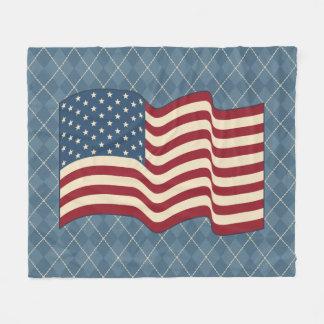Patriotic American Flag Fleece Rustic Blanket Gift