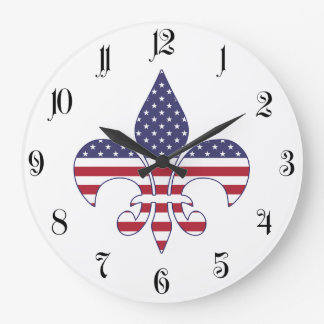 Patriotic American Flag Fleur-de-lis Large Clock