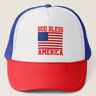 Patriotic American Flag God Bless America Trucker Hat