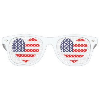 Patriotic American flag heart icon party shades