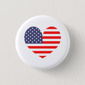 Patriotic American flag heart icon pinback button