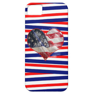 Patriotic American Flag Heart Red White Blue iPhone 5 Cover