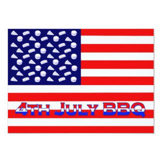 Patriotic American Flag Indepence Day BBQ Card