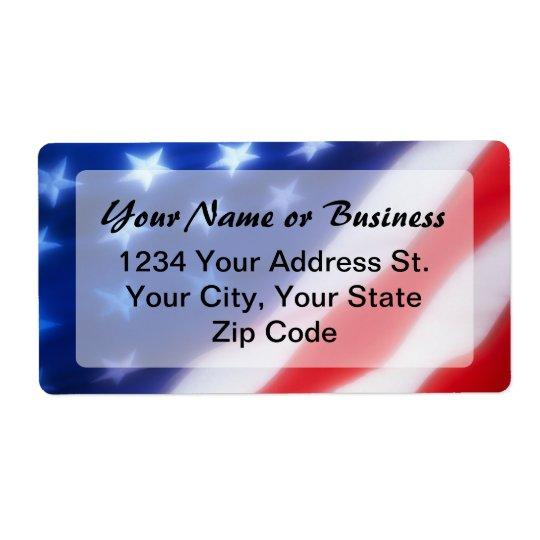 Patriotic American Flag Label Shipping Label