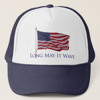 patriotic american flag   long may it wave trucker hat