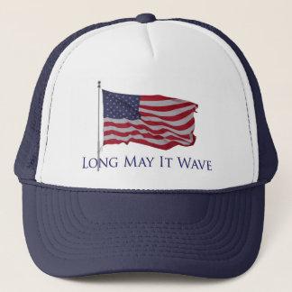 patriotic american flag   long may it wave trucker hat