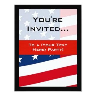 "Patriotic American Flag Party Invitations, General 4.25"" X 5.5"" Invitation Card"