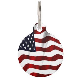 Patriotic American Flag Pattern Pet ID Tag