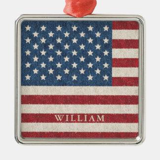 Patriotic American Flag Personalized Metal Ornament