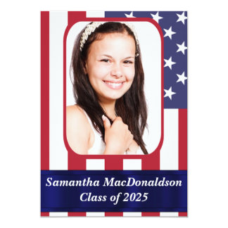 "Patriotic American flag photo graduation 5"" X 7"" Invitation Card"