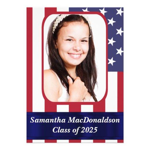 Patriotic American flag photo graduation Personalized Invites
