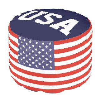 Patriotic American flag round pouf | USA pride