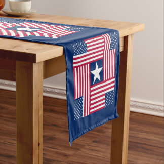 Patriotic American Flag Short Table Runner