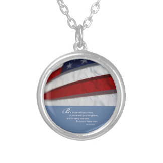 Patriotic, American Flag Silver Plated Necklace