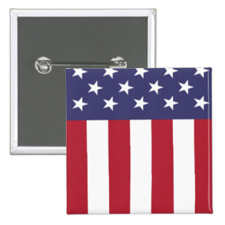 Patriotic American Flag Stars and Stripes 2 Inch Square Button