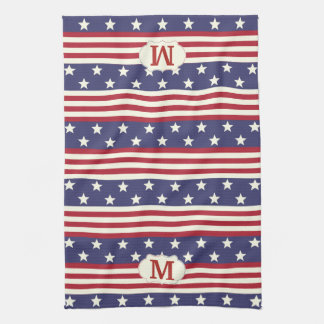 Patriotic American Flag Stars and Stripes Monogram Kitchen Towel