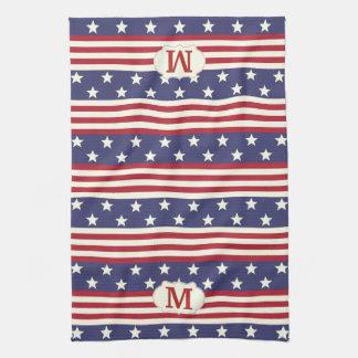 Patriotic American Flag Stars and Stripes Monogram Towels