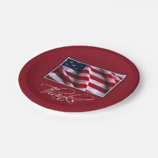 Patriotic American Flag Thanks in Red Paper Plate