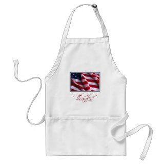 Patriotic American Flag Thanks in Red Standard Apron