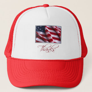 Patriotic American Flag Thanks in Red Trucker Hat