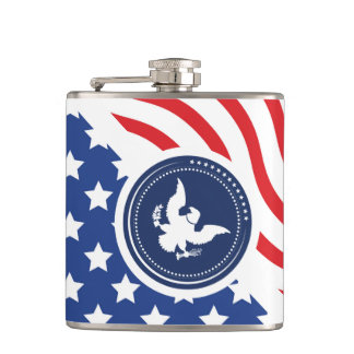 Patriotic American Flag with Eagle Flasks
