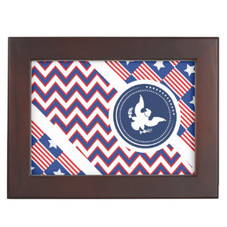Patriotic American Flag with Eagle Memory Boxes