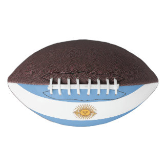 Patriotic american football with flag of Argentina