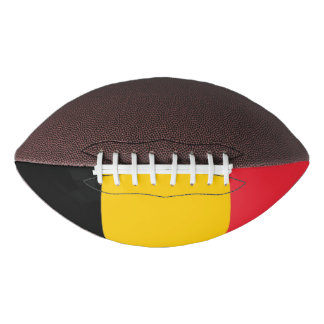 Patriotic american football with flag of Belgium