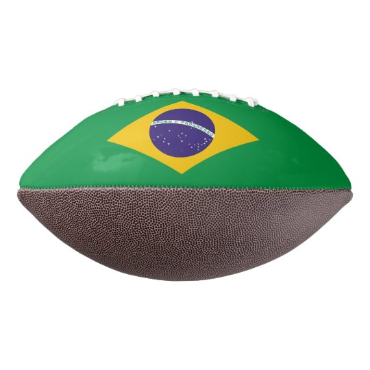 Patriotic american football with flag of Brazil