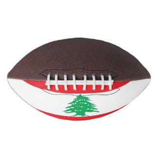 Patriotic american football with flag of Lebanon