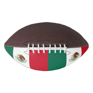 Patriotic american football with flag of Mexico