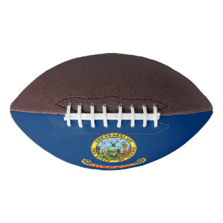 Patriotic american football with Idaho flag