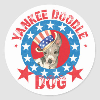 Patriotic American Hairless Terrier Classic Round Sticker