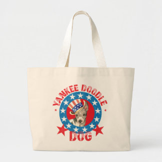 Patriotic American Hairless Terrier Large Tote Bag