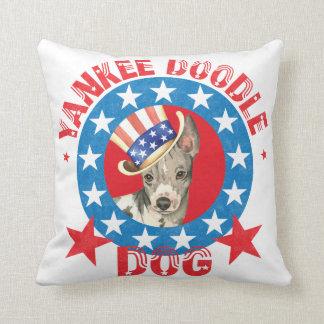 Patriotic American Hairless Terrier Throw Pillow