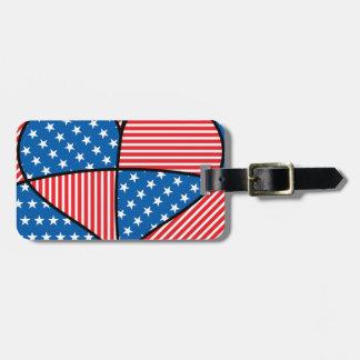 Patriotic American hearts Bag Tag