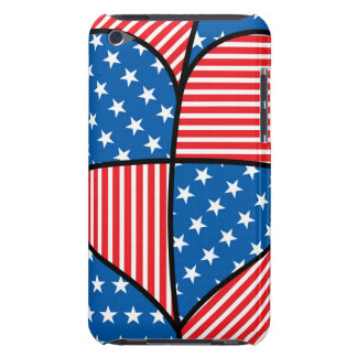 Patriotic American hearts Barely There iPod Case