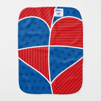 Patriotic American hearts Burp Cloths