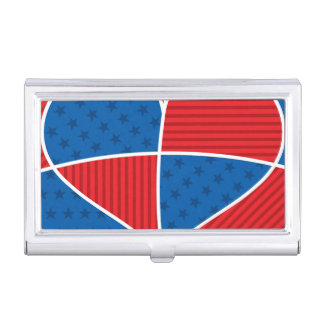 Patriotic American hearts Case For Business Cards