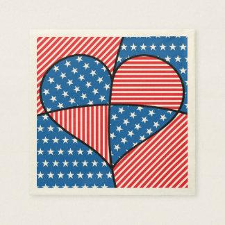 Patriotic American hearts Disposable Napkin