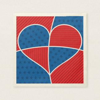 Patriotic American hearts Disposable Napkins