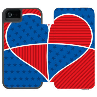 Patriotic American hearts Incipio Watson™ iPhone 5 Wallet Case
