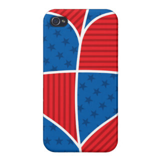 Patriotic American hearts iPhone 4 Cover
