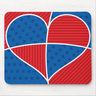 Patriotic American hearts Mouse Pad