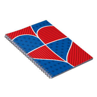 Patriotic American hearts Note Book
